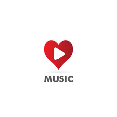 love heart music play vector logo