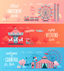 Set of Amusement park landscape banners
