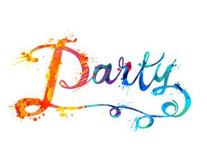 Party. Hand written word of splash paint