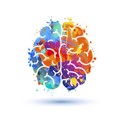Human brain icon. Splash paint