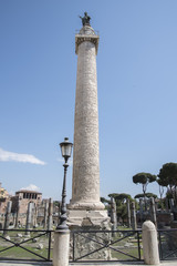 Trajan's Column is a Roman triumphal column in Rome, Italy, that commemorates Roman emperor Trajan's victory in the Dacian Wars. It was constructed in the years 107-113.