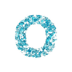 Alphabet letter O uppercase. Liquid font made of blue water drops. 3D render isolated on white background.