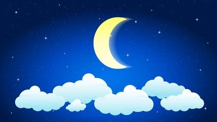 Ночное небо, месяц, звезды