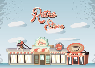 retro store building front vector illustration design