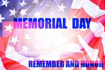 Memorial Day background with american flag remember and honor,greeting banner template and design background.