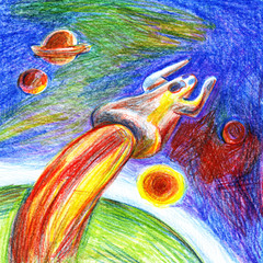 drawn screaming silhouette of a man with his hands up, flying away from the surface of a green planet like a rocket into the distant blue space with planets and the Sun pencil drawing sketch