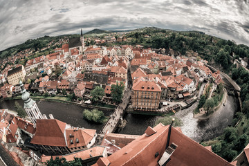Panoramic view of the historic city of Cesky Krumlov with famous Cesky Krumlov Castle. Cesky Krumlov, Czech Republic