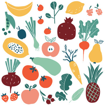Set with hand drawn colorful doodle fruits and vegetables. Sketch style big vector collection. Flat icons set: berries, cucumber, carrot, onion, tomato, apple, pineapple, lemon.