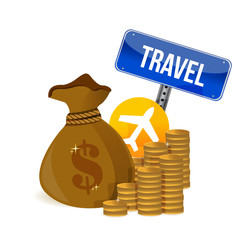 air travel money concept illustration design