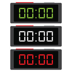 Simple, flat, grey digital clock icon. Three color variations. Isolated on white