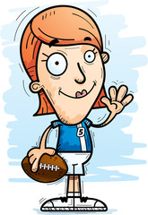 Cartoon Football Player Waving