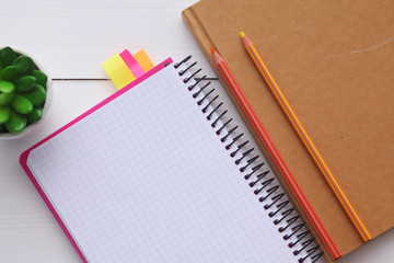 Top view image of open notebook with blank pages on wooden table. open notebook.