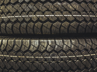 close up two new car tires texture