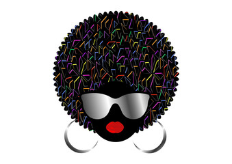 portrait African Women , dark skin female face with hair afro and metal sunglasses in traditional ethnic colorful turban vector isolated, cover for black music, disco, beauty events, hairstyle concept
