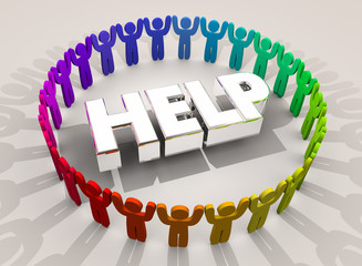 Help People in Circle Support Assistance 3d Word Illustration