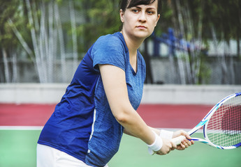 Tennis player ready for a match