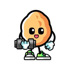 Walnut fitness mascot cartoon illustration