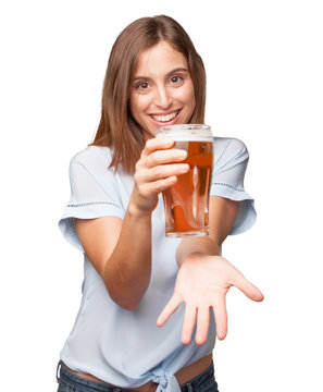 young pretty woman drinking beer