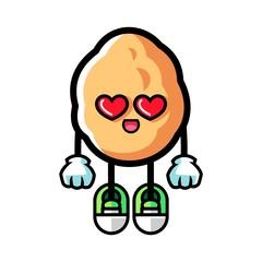 Walnut fall in love mascot cartoon illustration