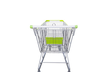 green shopping cart isolated on white background with clipping path