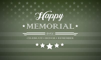 Happy Memorial Day typography military green style vector