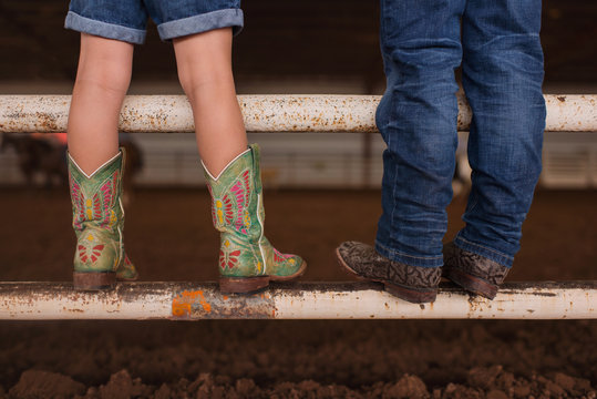 Cowgirl and Cowboy Boots, boot, cute, together, siblings, boy, girl, standing, legs