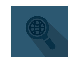 magnifier blue globe business company office corporate image vector icon logo