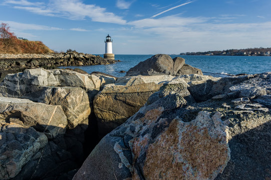 Harbor Lighthouse with Boulders