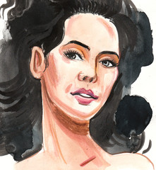 Watercolor painting of a beautiful brunette woman