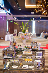 Glass shots pastry, wedding catering food, mini canapes food, tasty dessert, Beautiful decorate catering banquet table,  snacks and appetizers, wedding celebration