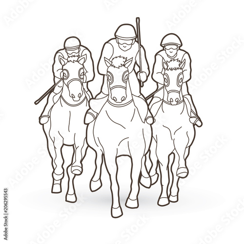 Horse Racing Jockey Riding Horse Design Using Outline Graphic
