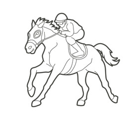 Horse racing ,Jockey riding horse, design using outline graphic vector.