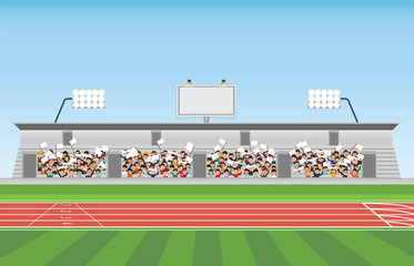 Crowd in stadium grandstand to cheering sport