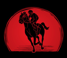 Horse racing ,Jockey riding horse, design on sunlight background graphic vector.