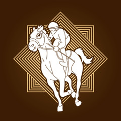 Horse racing ,Jockey riding horse, design on line square background graphic vector.