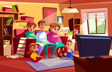 Family together watching TV vector illustration of parents and children sitting on sofa or chair in living room. Cartoon mother, father and grandmother with boy and girls kids in flat watch television