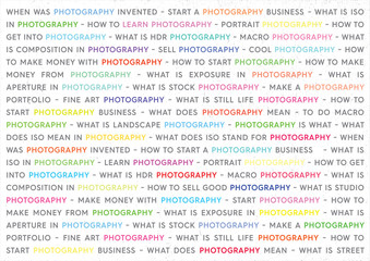 Photography Colored Keywords Marketing Concept. Photographs Poster on White Background.