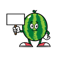Cartoon Watermelon Character With Blank Sign
