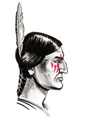 Indian warrior. Ink black and white illustration
