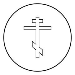 Cross eight-pointed of Greek-Catholic Orthodox icon black color vector illustration simple image