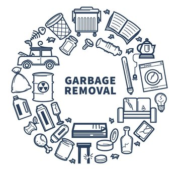 Garbage removal promo monochrome emblem with rubbish in circle