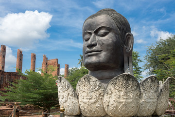Big Buddha head of Wat Thammikarat at Ayutthaya province,Thailand