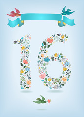 Floral Number Sixteen with Ribbon and birds