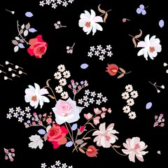 Seamless natural pattern with cute garden flowers on black background. Ditsy floral backdrop in vector. Red and pink roses, white cherry and cosmos flowers, branches of spirea and viburnum leaves.