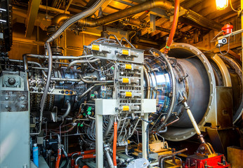 Gas turbine equipment and pipeline at power plant.