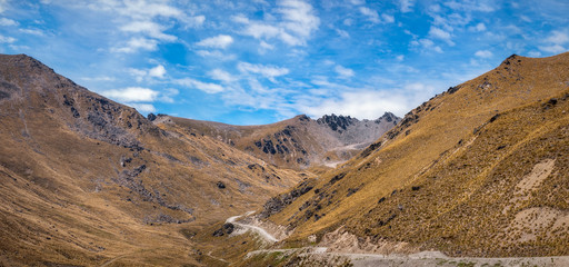 The top portion of the road from Queenstown to The Remarkable Ski Area in New Zealand