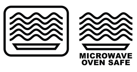 Microwave oven safe item symbol. Simple black lines plate drawing with waves above. Graphic symbol only and also version with text.