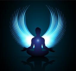 man meditate dark blue abstract background, yoga. ray. beam. Buddhist meditation, Hindu meditation. wing