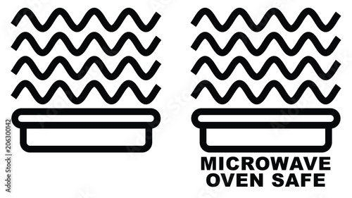 Microwave Safe Container Icon Simple Black Lines Food Container