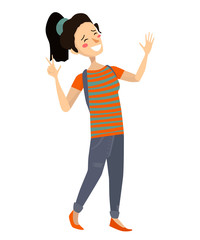 isolated cheerful asian girl smiling and laughing. flat vector japanese teenager illustration. cute female with ponytail wearing green tshirt with orange stripes, blue jeans, orange shoes and backpack